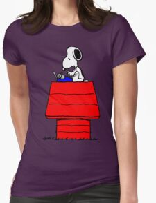 Typewriter Snoopy Womens Fitted T-Shirt