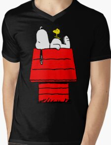 Snoopy and Woodstock Mens V-Neck T-Shirt