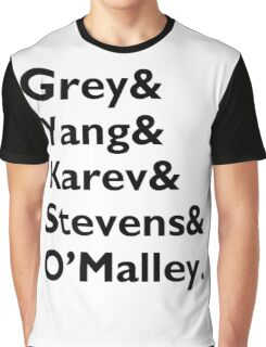 Grey, Yang, Karev, Stevens, O'maley - Black Graphic T-Shirt