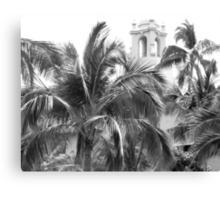 A Sneak Peek at the Royal Hawaiian Hotel Through the Palm Trees Canvas Print