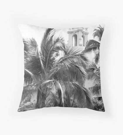 A Sneak Peek at the Royal Hawaiian Hotel Through the Palm Trees Throw Pillow