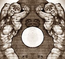 the muscle twins (sepia tone) drawn from imagination by Ronald Eschner