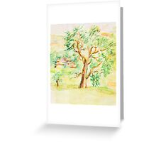 Watercolor Rural Summer Landscape Greeting Card