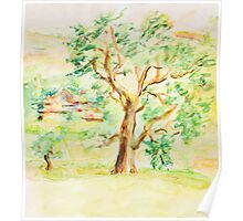 Watercolor Rural Summer Landscape Poster