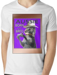 AUSSIE BORN & BRED Mens V-Neck T-Shirt