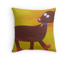 Dog in Clogs -Mini Sausage Dog - Animal Rhymes - created from recycled math books Throw Pillow