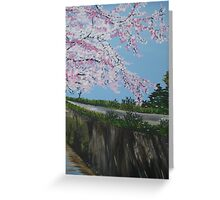 Cherry blossom falling - with river - realistic meets whimsical Greeting Card