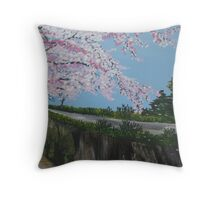 Cherry blossom falling - with river - realistic meets whimsical Throw Pillow