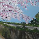 Falling Cherry Blossom in Japan - with river by cathyjacobs