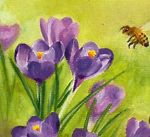 Crucuses and Bee by Lynne  Kirby