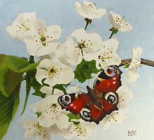 Peacock Butterfly and Blossom by Lynne  Kirby