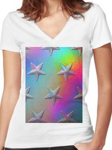 PSYCHEDELIC STARS. Women's Fitted V-Neck T-Shirt