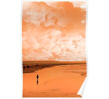a lone child in silhouette on beach Poster