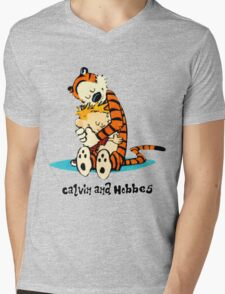 Hug Calvin and Hobbes Mens V-Neck T-Shirt
