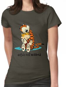 Hug Calvin and Hobbes Womens Fitted T-Shirt