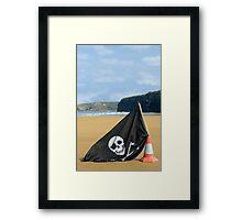 beach with jolly roger flag Framed Print