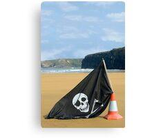 beach with jolly roger flag Canvas Print