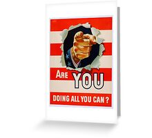 WW2 Poster Are You Reprint Greeting Card