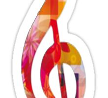 Treble Clef Multicolored  Sticker