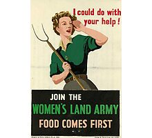 Reprint of a WW2 Recruiting Poster  Photographic Print