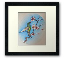 Hummingbird and the blossom Framed Print