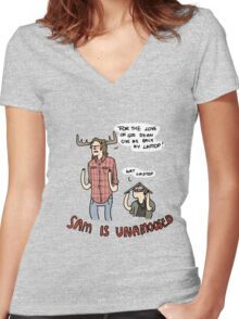 Sam is Unamoosed Women's Fitted V-Neck T-Shirt