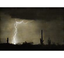 Twisted Desert Lightning Storm Photographic Print