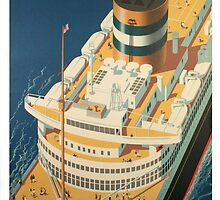 Vintage Ocean Liner Travel Poster by Chris L Smith