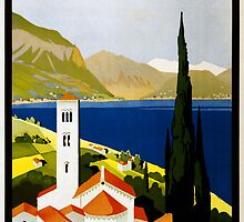 Vintage Travel Poster to the Italian Lakes by chris-csfotobiz