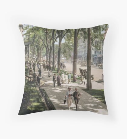 Broadway in Saratoga Springs, New York, ca 1915 (16:9 crop)  Throw Pillow