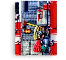Fire Truck With Hoses and Ax Canvas Print
