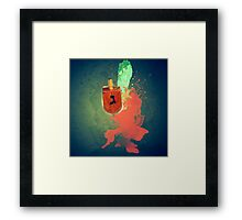 Flaming Sevivon (or Dreidel) a spinning top traditionally played during Chanukah Framed Print