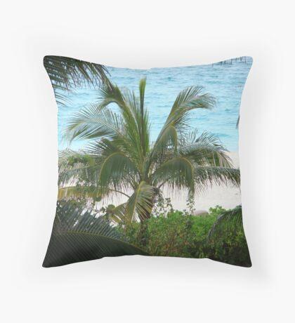 Beach Viewed Through Palm Trees Throw Pillow