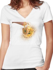spinning Flaming Sevivon (or Dreidel) a spinning top  Women's Fitted V-Neck T-Shirt