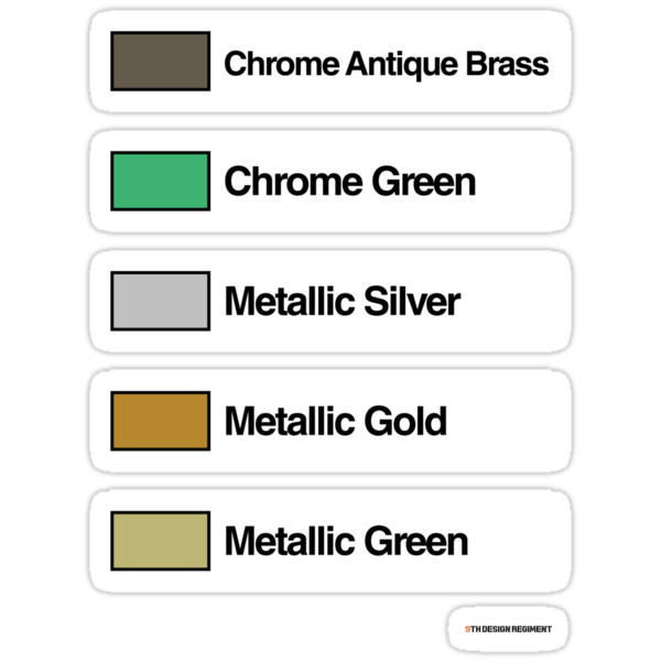 Brick Sorting Labels: Chrome Antique Brass, Chrome Green, Metallic Silver, Metallic Gold, Metallic Green by 9thDesignRgmt