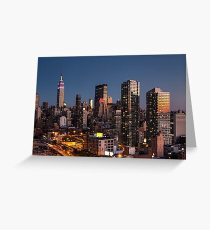 Empire State Building in Purple Greeting Card