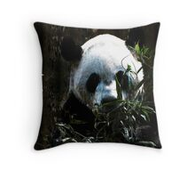 Cute Giant Panda Bear with tasty Bamboo Leaves Throw Pillow