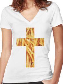 Fries - Cross Women's Fitted V-Neck T-Shirt