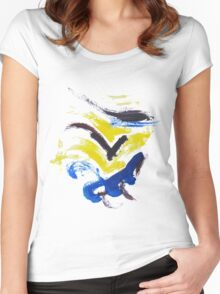 Yellow,blue,purple Women's Fitted Scoop T-Shirt