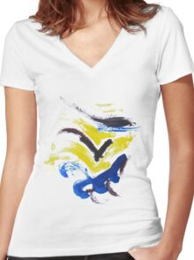 Yellow,blue,purple Women's Fitted V-Neck T-Shirt