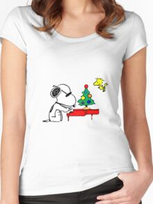 Snoopy on Piano Women's Fitted Scoop T-Shirt