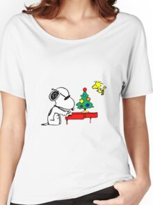 Snoopy on Piano Women's Relaxed Fit T-Shirt