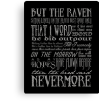 Edgar Allan Poe RAVEN typography Canvas Print