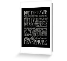 Edgar Allan Poe RAVEN typography Greeting Card