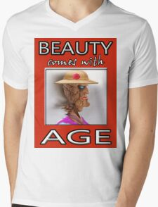 BEAUTY COMES WITH AGE Mens V-Neck T-Shirt