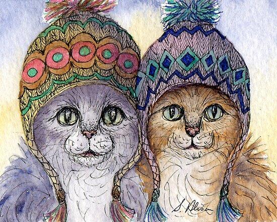 The knitwear cat sisters in hats by SusanAlisonArt