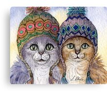 The knitwear cat sisters in hats Canvas Print