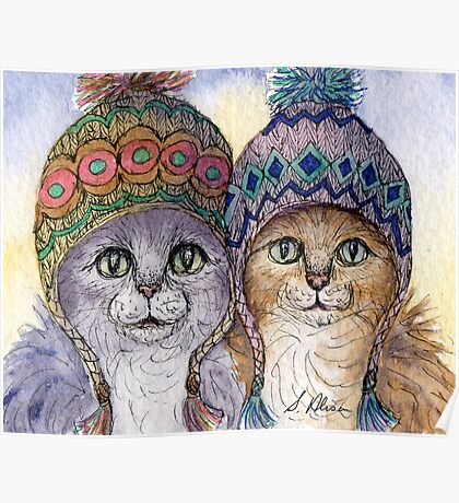The knitwear cat sisters in hats Poster