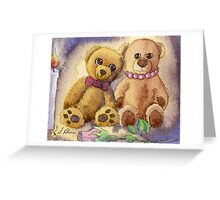 Teddy bear first date Greeting Card