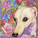 Shy flower whippet greyhound by SusanAlisonArt